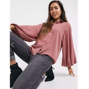 ASOS Volume Sleeve Shirt in Rose